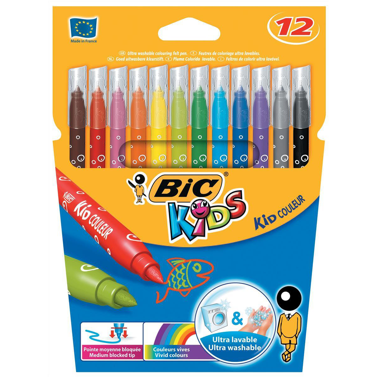 Bic Kids Couleur Felt Tip Pens Washable Water-based Ink Medium Tip Wallet Asstd Cols Ref 920293 Pack 12