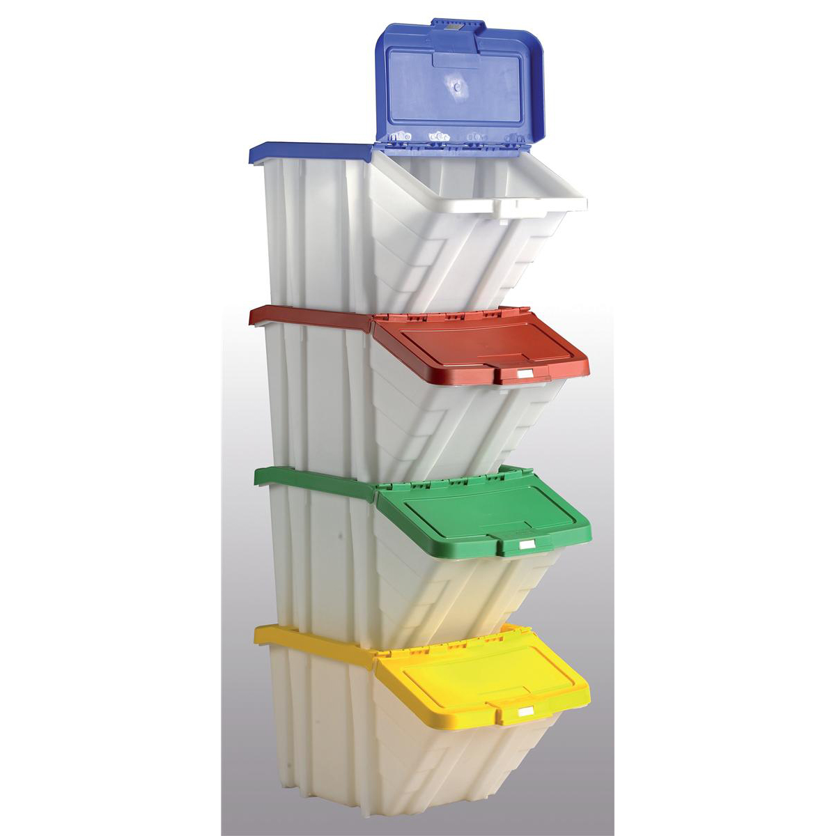 Containers Storage Container Bin 50L 30kg Load W390xD630xH340mm White and Assorted Lids [Pack 4]