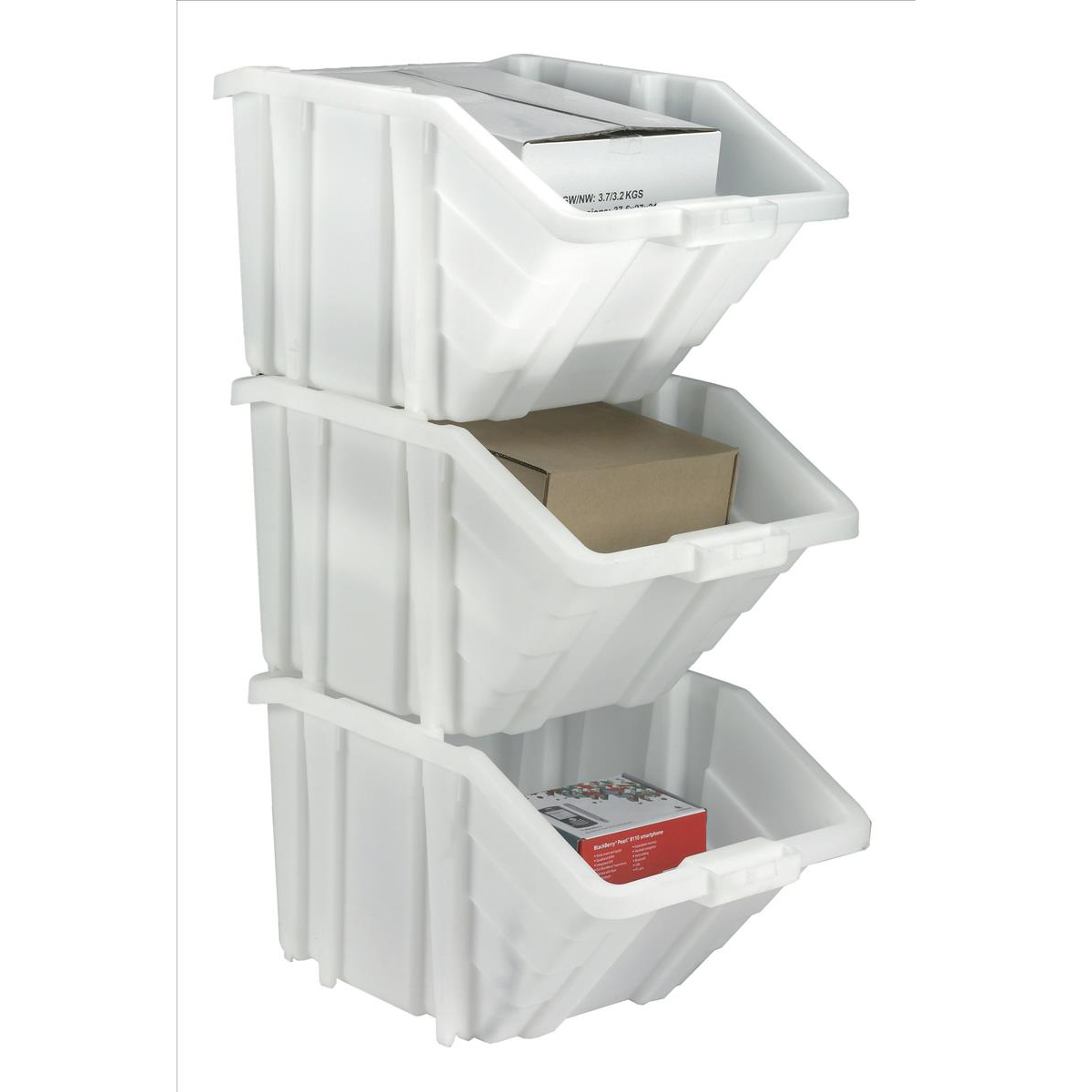 Storage Container Bin 50L 30kg Load W390xD630xH340mm White and Assorted Lids Pack 4