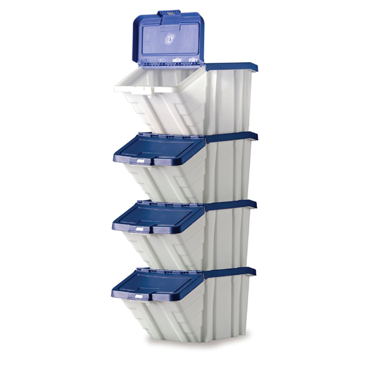 Containers Storage Container Bin 50L 30kg Load W390xD630xH340mm White and Blue Lid Pack 4