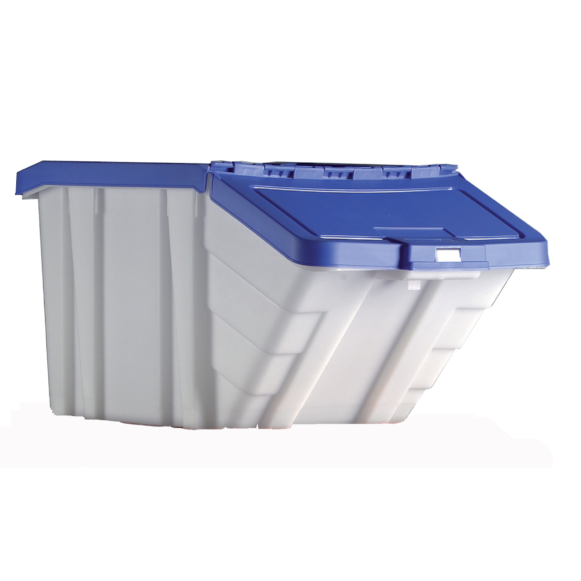 Storage Container Bin 50L 30kg Load W390xD630xH340mm White and Blue Lid Pack 4