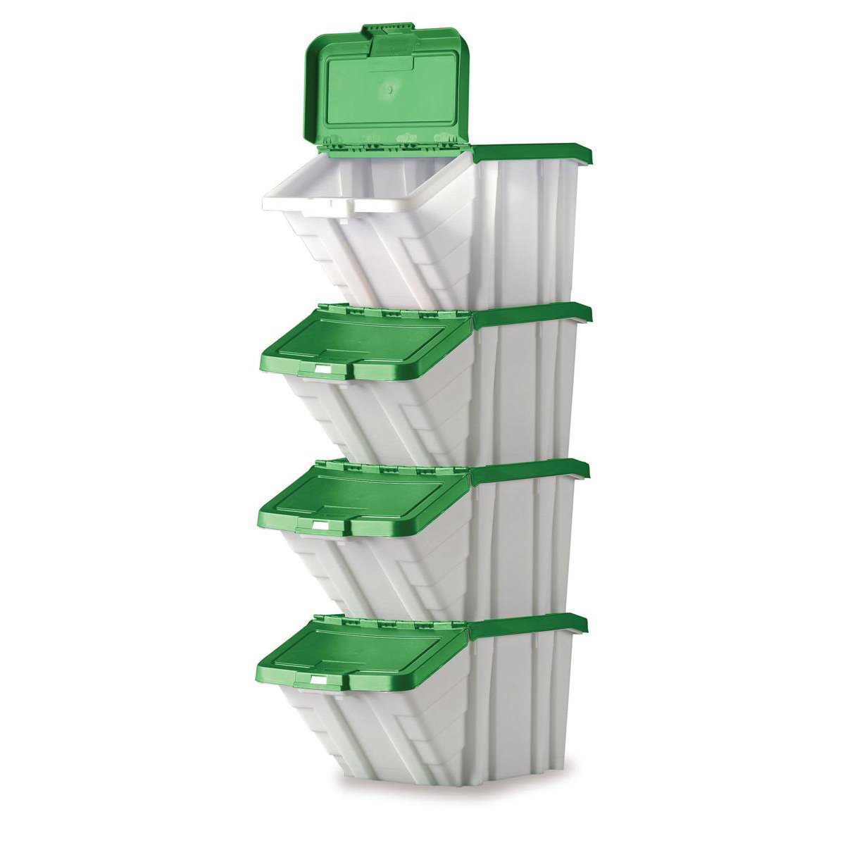 Storage Container Bin 50L 30kg Load W390xD630xH340mm White and Green Lid Pack 4