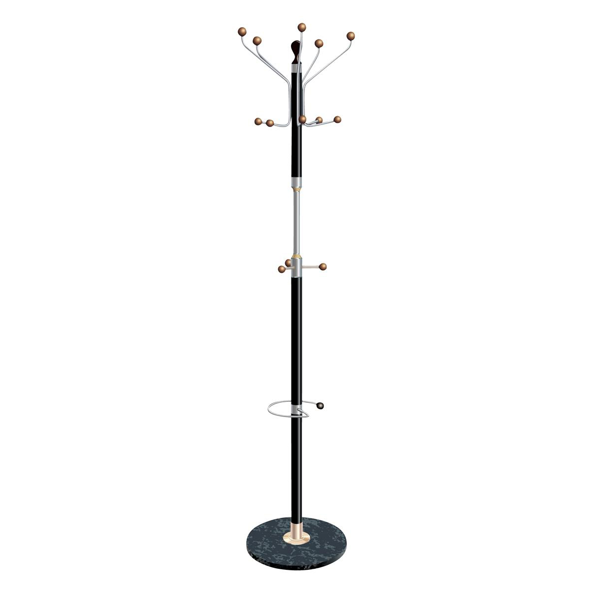 Free Standing 5 Star Facilities Coat Stand with Umbrella Holder 5 Pegs 5 Hooks Base 380mm Height 1820mm Black/Chrome