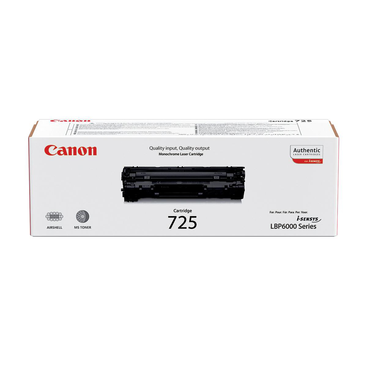 Canon CRG-725 Laser Toner Cartridge Page Life 1600pp Black Ref 3484B002