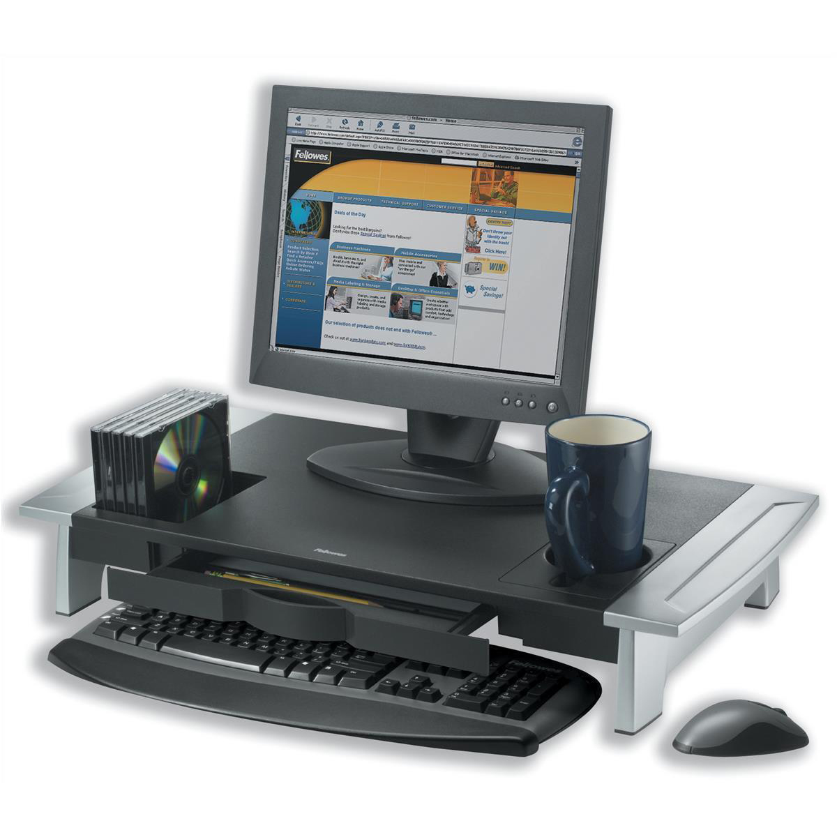 Fellowes Office Suites Monitor Riser Large Height-adjustable with Storage Tray 36kg Load Ref 80310