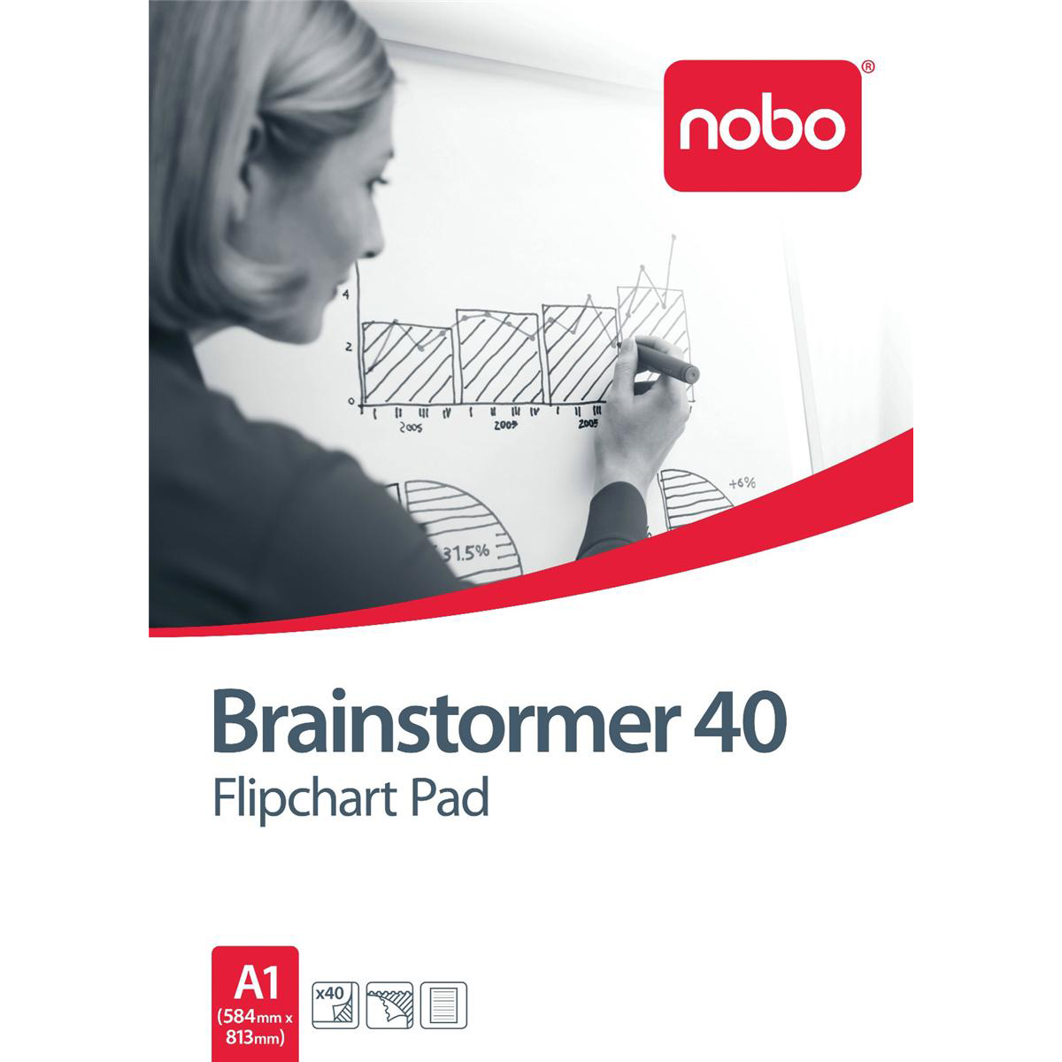 Nobo Brainstormer Flipchart Pad Perforated 40 Sheets 70gsm A1 Ruled Line Ref 34633719 Pack 5
