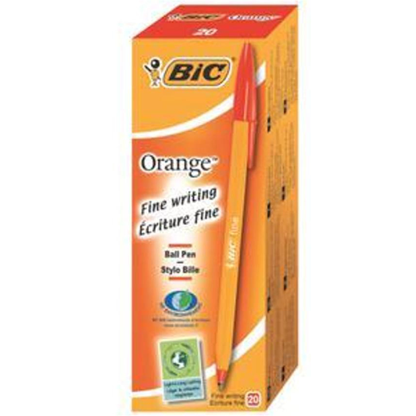 Bic Orange Ball Pen Fine 0.8mm Tip 0.3mm Line Red Ref 1199110112 Pack 20