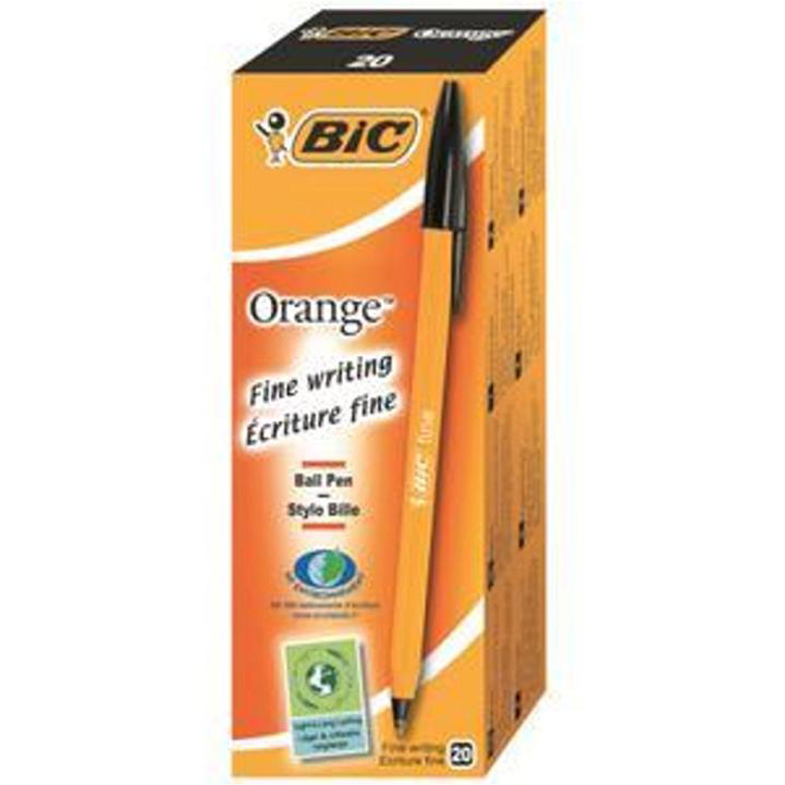 Bic Orange Ball Pen Fine 0.8mm Tip 0.3 mm Line Black Ref 1199110114 [Pack 20]