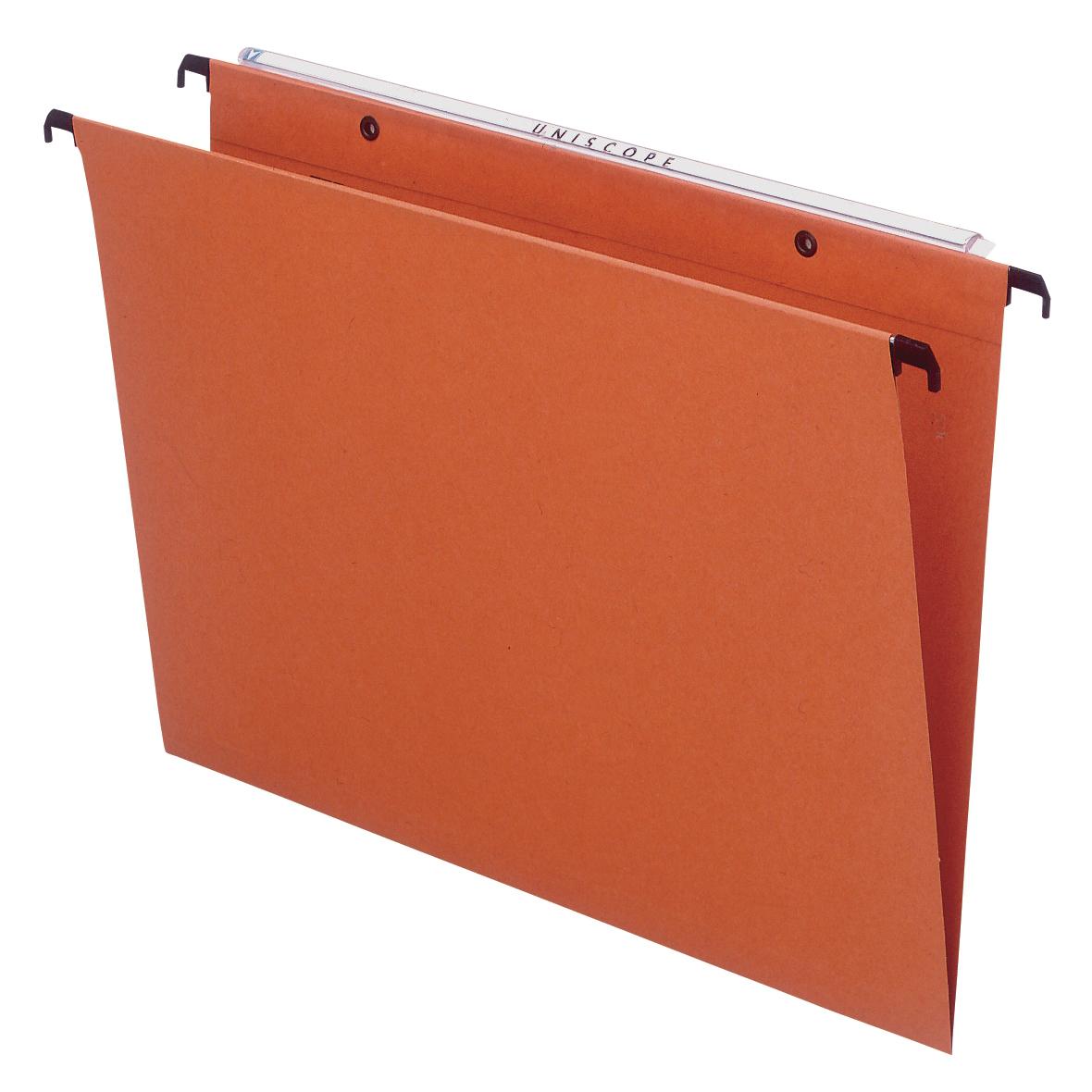 Bantex Linking Suspension File Manilla 30mm Wide-base 220gsm Foolscap Orange Ref 100330687 [Pack 25]