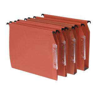 Bantex Linking Lateral File Kraft 30mm Wide-base 210gsm Foolscap Orange Ref 100330744 Pack 25