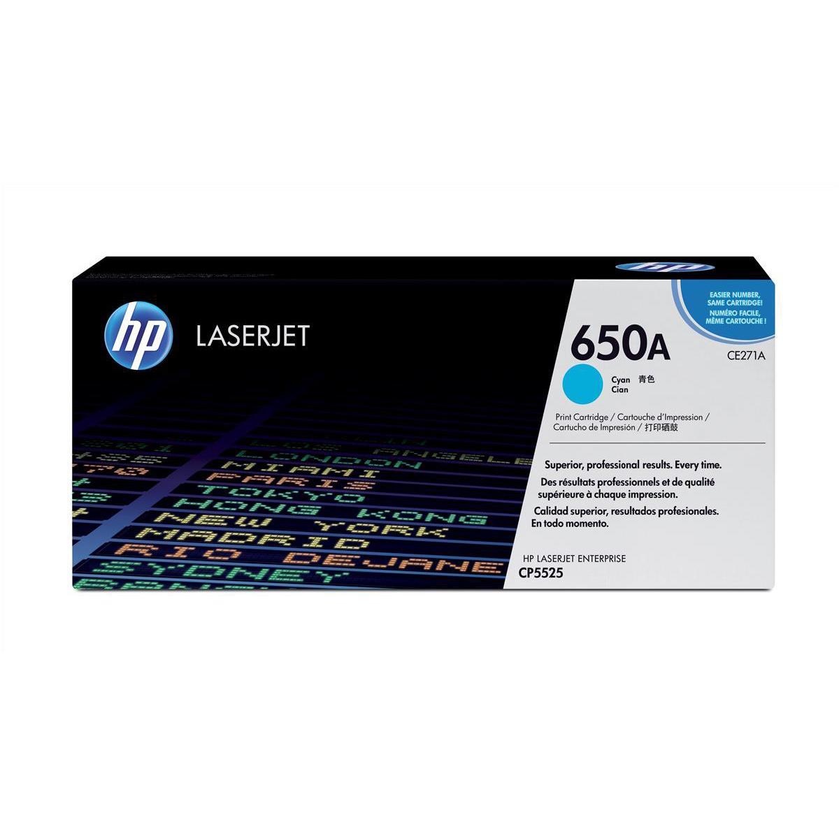 Hewlett Packard [HP] No. 650A Laser Toner Cartridge Page Life 15000pp Cyan Ref CE271A