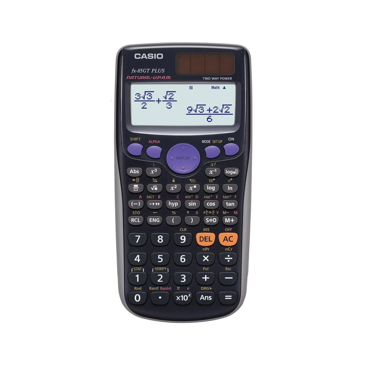 Casio Calculator Scientific Solar and Battery TwinLine Natural Textbook Display 10+2 Digit Ref FX85GT