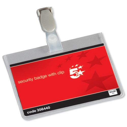 5 Star Office Name Badges Security Landscape with Plastic Clip 60x90mm Pack 25
