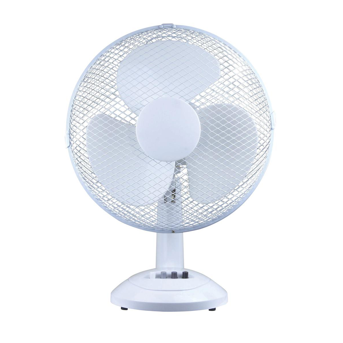 5 Star Facilities Desk Fan 12 Inch 90deg Oscillating with Tilt & Lock 3-Speed H480mm Dia.305mm White