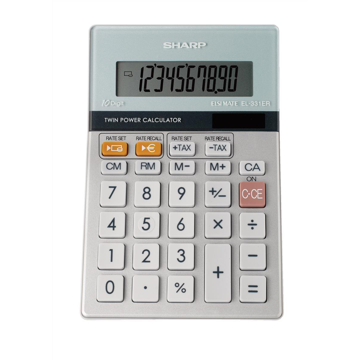 Desktop Calculator Sharp Desktop Calculator 10 Digit 3 Key Memory Battery/Solar Power 102x15x148mm Grey Ref EL331ERB
