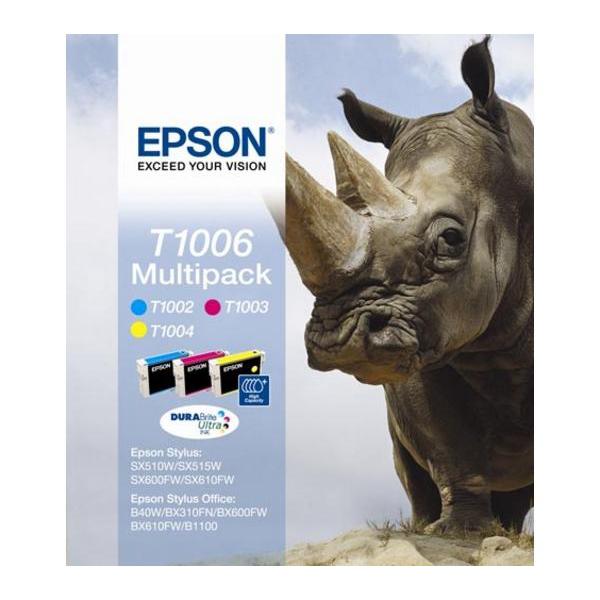 Epson T1006 Inkjet Cartridge Rhino Cyan 915pp/Magenta 635pp/Yellow 990pp 11.1ml Ref C13T10064010 Pack 3