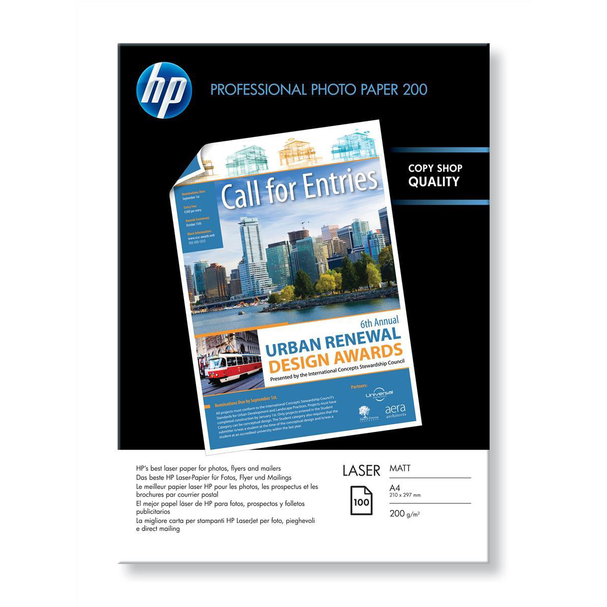 Hewlett Packard HP Laser Photo Paper Matt 200gsm A4 Ref Q6550A 100 Sheets