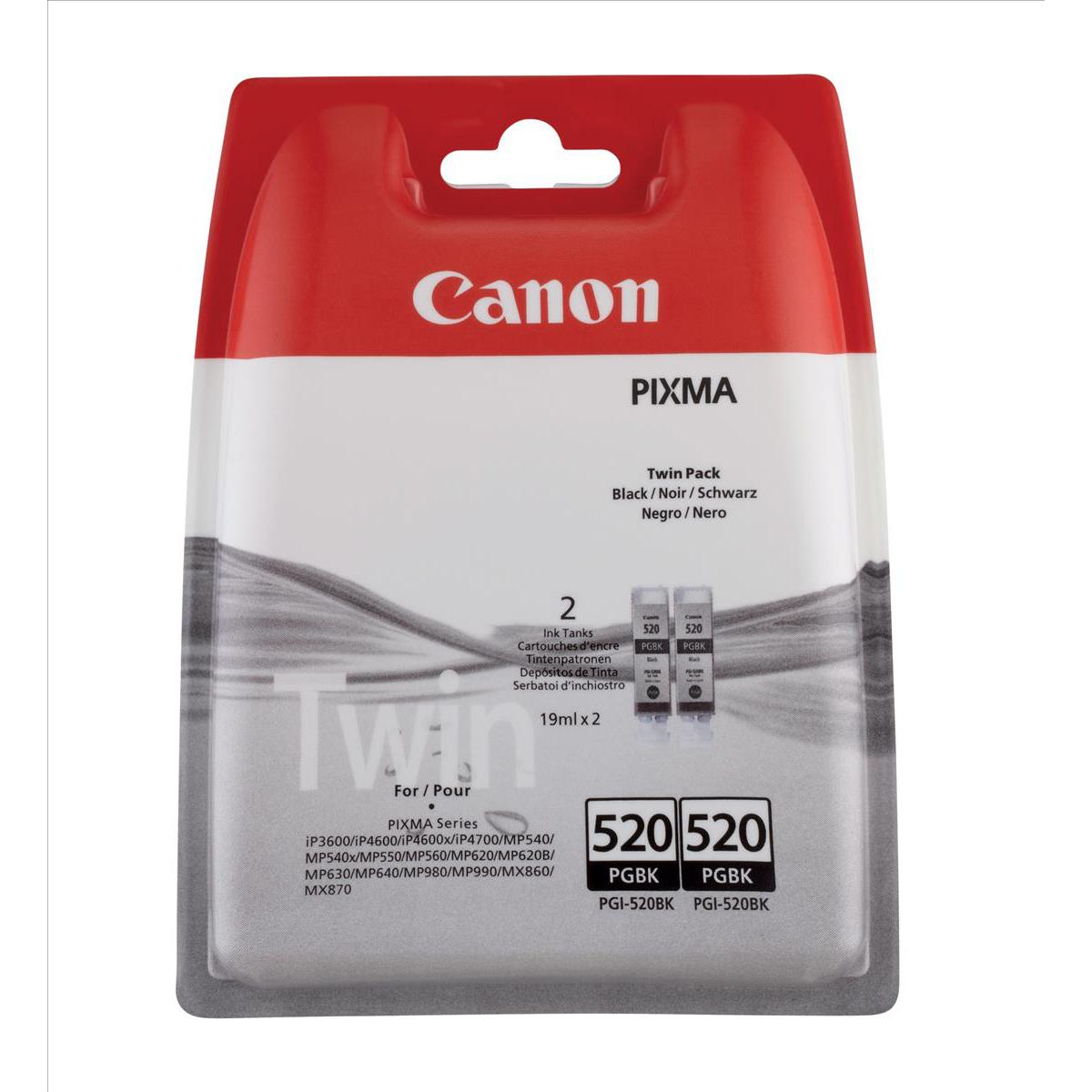 Canon PGI-520BK Inkjet Cartridge Black 350pp 19ml Ref 2932B009 [Pack 2]