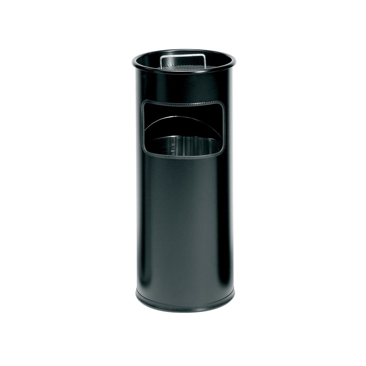 Durable Ashtray Waste Bin with 1.5 Kilos of Silver Sand 17 Litres with 2 Litre Ashtray Black Ref 3330/01