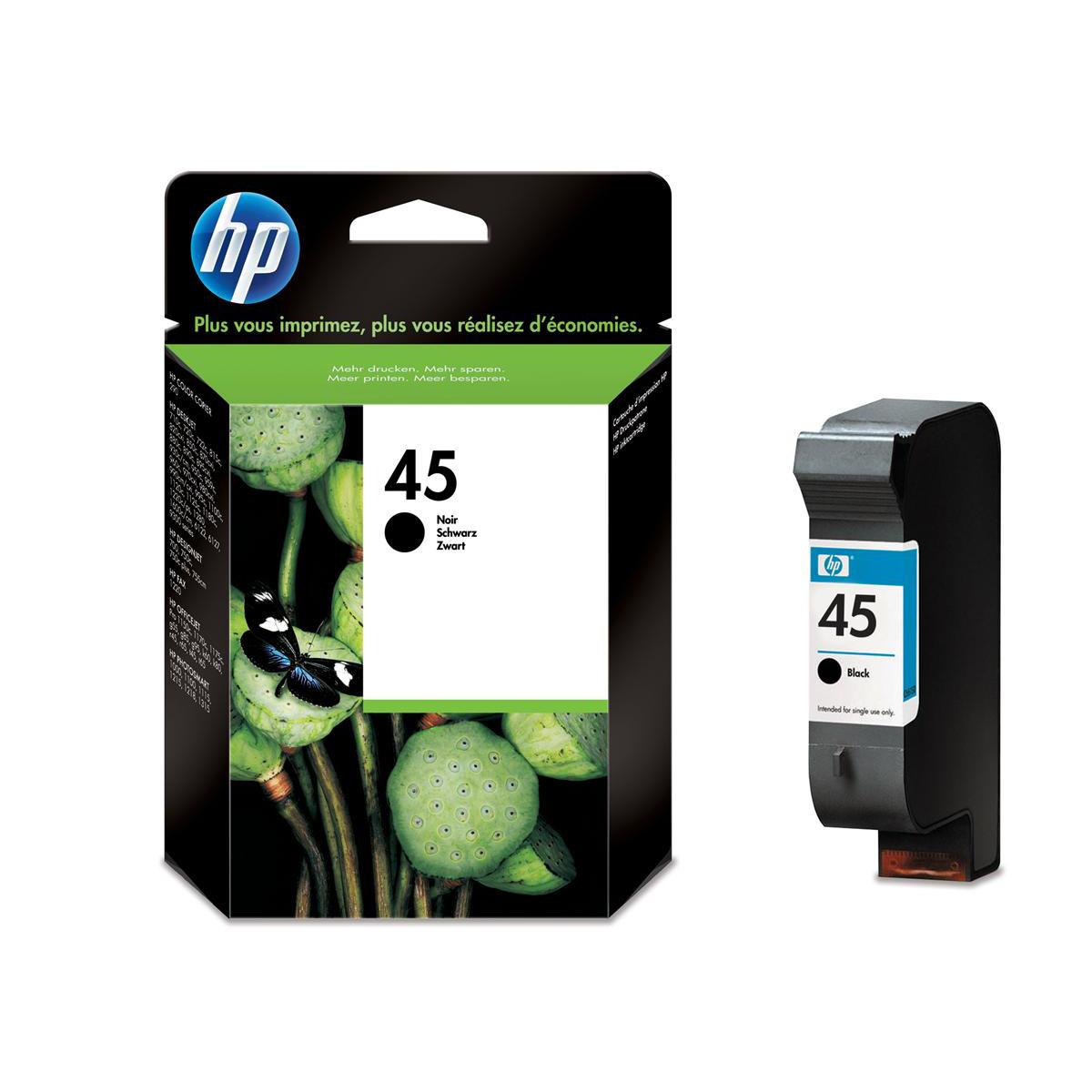 Ink cartridges Hewlett Packard HP No.45 Inkjet Cartridge High Yield Page Life 930pp 42ml Black Ref 51645AE