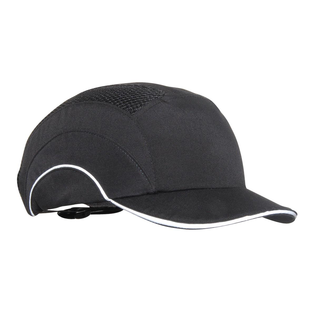 JSP Hard Cap A1 Plus Ventilated Adjustable with Short Peak 50mm Black Ref ABS000-001-100