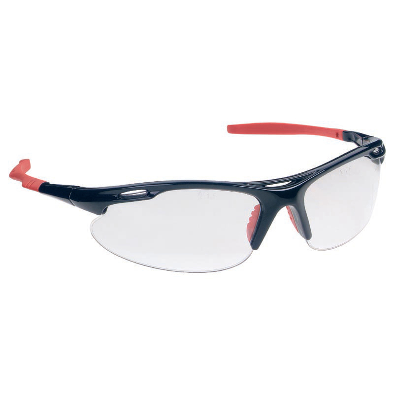 JSP M9700 Sports Spectacles Rubber Nosepad Dual-curved Lenses Clear Lens Black/Red Ref ASA748-161-100