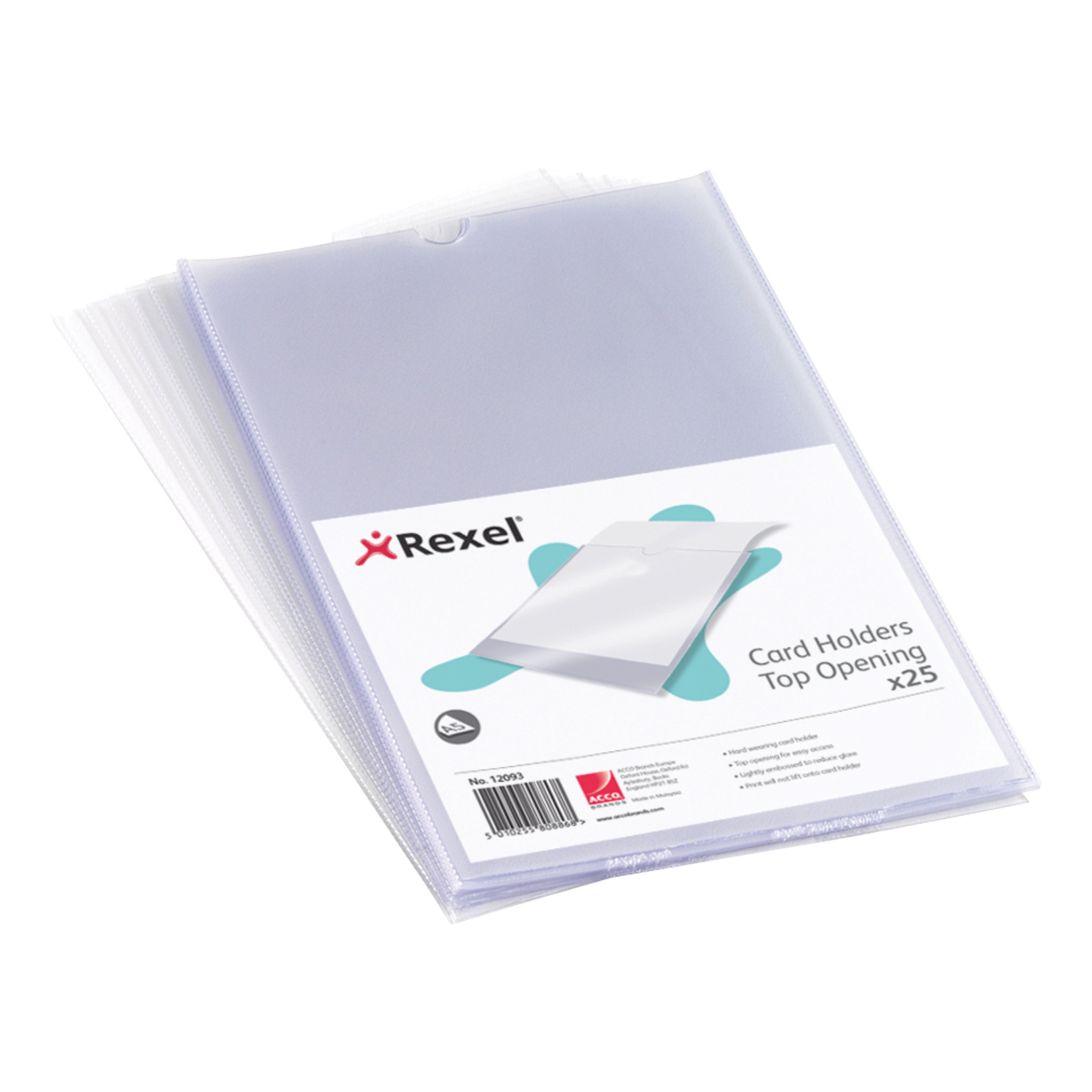 Card Holders Rexel Clear Card Holder Nyrex Open on Short Edge A5 Ref 12060 Pack 25