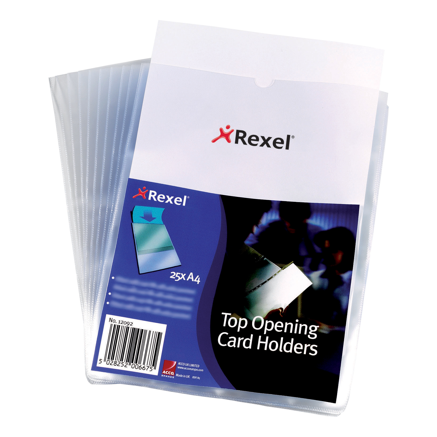 Rexel Card Holder Polypropylene Wipe-clean Top-opening A4 Ref 12092 Pack 25