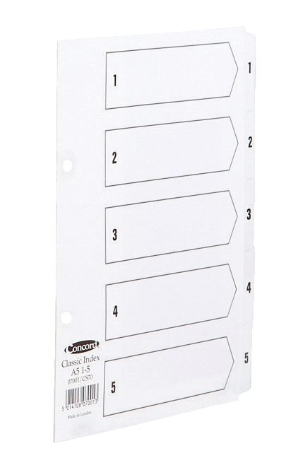 Image for Concord Classic Index Mylar-reinforced Punched 2 Holes 1-5 A5 White Ref 07001/CS70