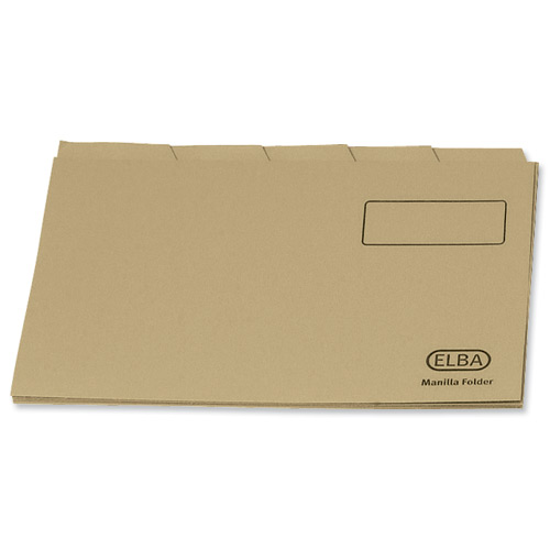 Image for Elba Economy Tabbed Folders Recycled Manilla 170gsm Set of 5 Foolscap Buff Ref 100090124 [Pack 20]