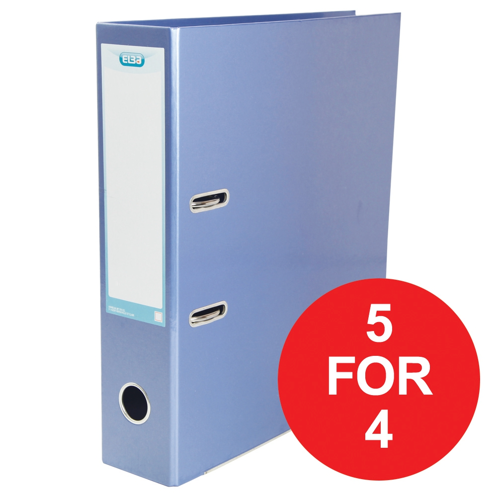 Elba Lever Arch File Laminated Gloss Finish 70mm A4+ Metallic Blue Ref 400021023 [5 For 4] Jan-Dec 2018
