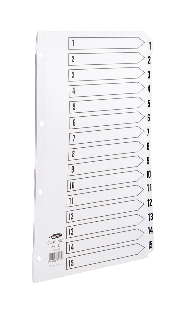 Image for Concord Classic Index Mylar-reinforced Punched 4 Holes 1-15 A4 White Ref 01401/CS14