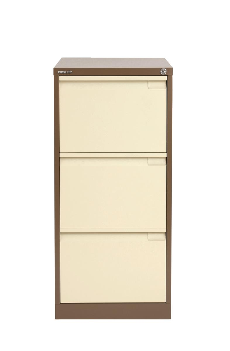 Image for Bisley BS3E Filing Cabinet 3-Drawer H1016mm Brown and Cream Ref BS3E-0506