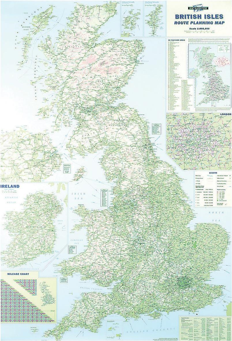 Image for Map Marketing British Isles Motoring Map Unframed 12.5 Miles to 1 inch Scale W830xH1200mm Ref BIM