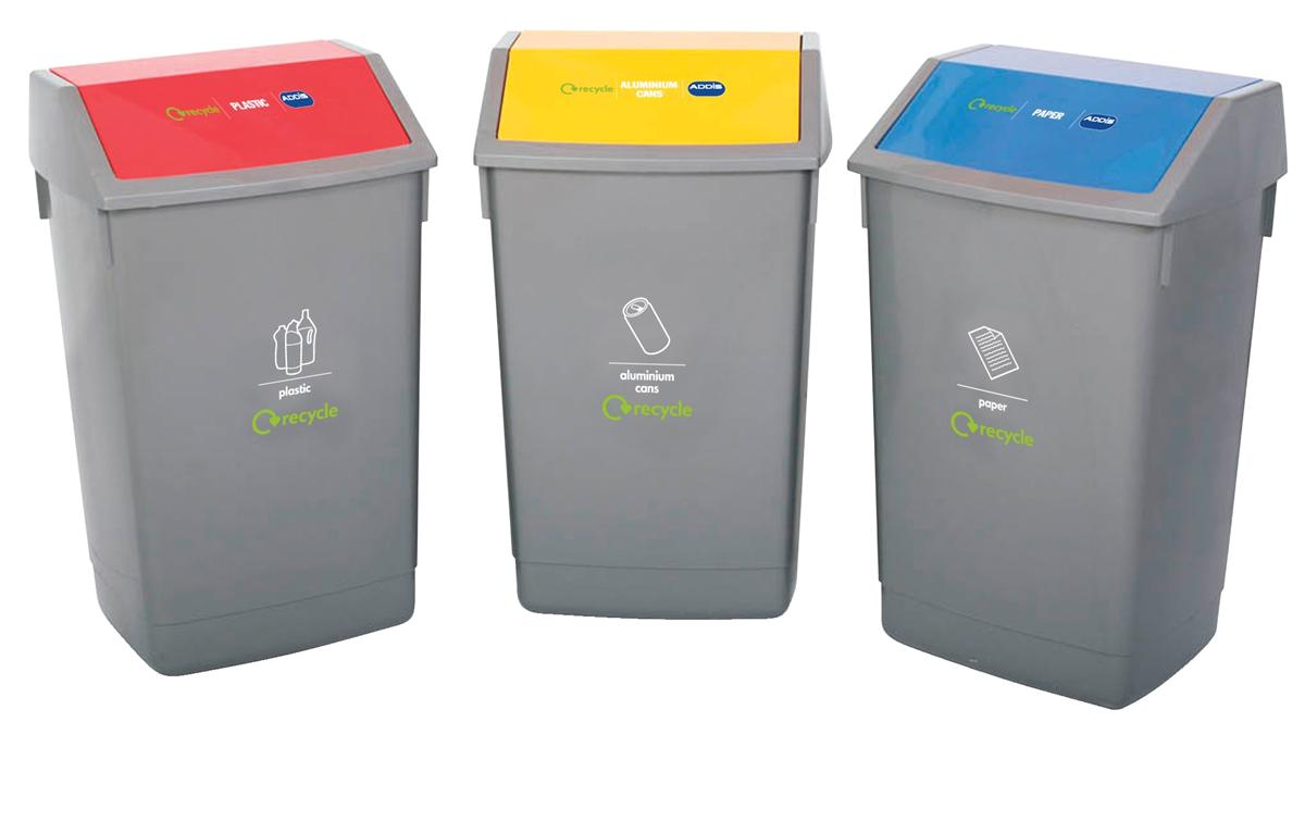 Image for Recycle Bin Kit 3x 60 Litre Bins with Colour Coded Lids Flip Top Ref 505576 [Pack 3]