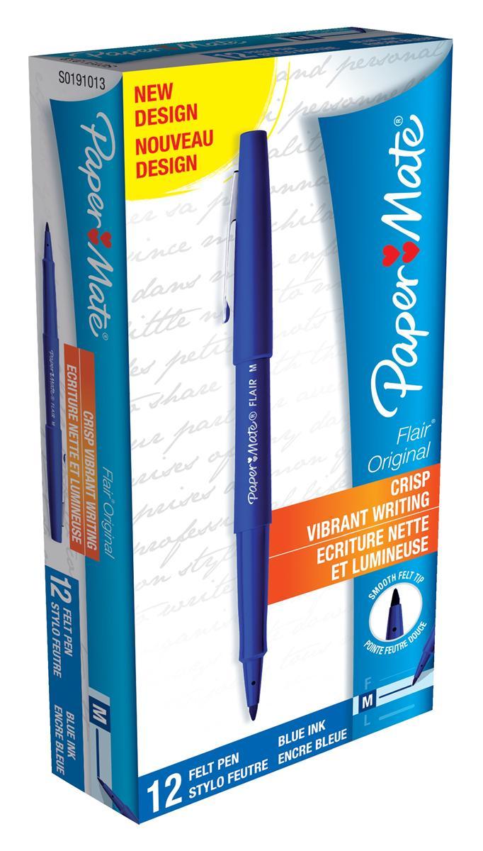 Image for Paper Mate Fine Line Marker Nylon 1.1mm Tip 0.8mm Line Blue Ref S0191013 [Pack 12]