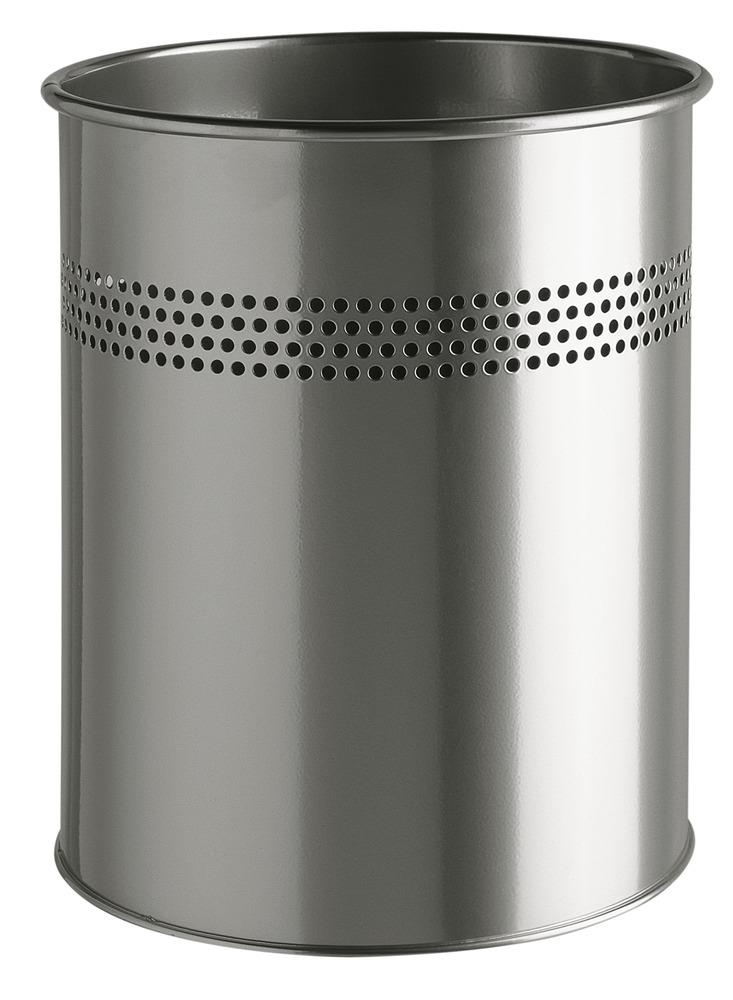 Image for Durable Bin Round Metal 30mm Perforated 15 Litres Metallic Silver Ref 3300/23