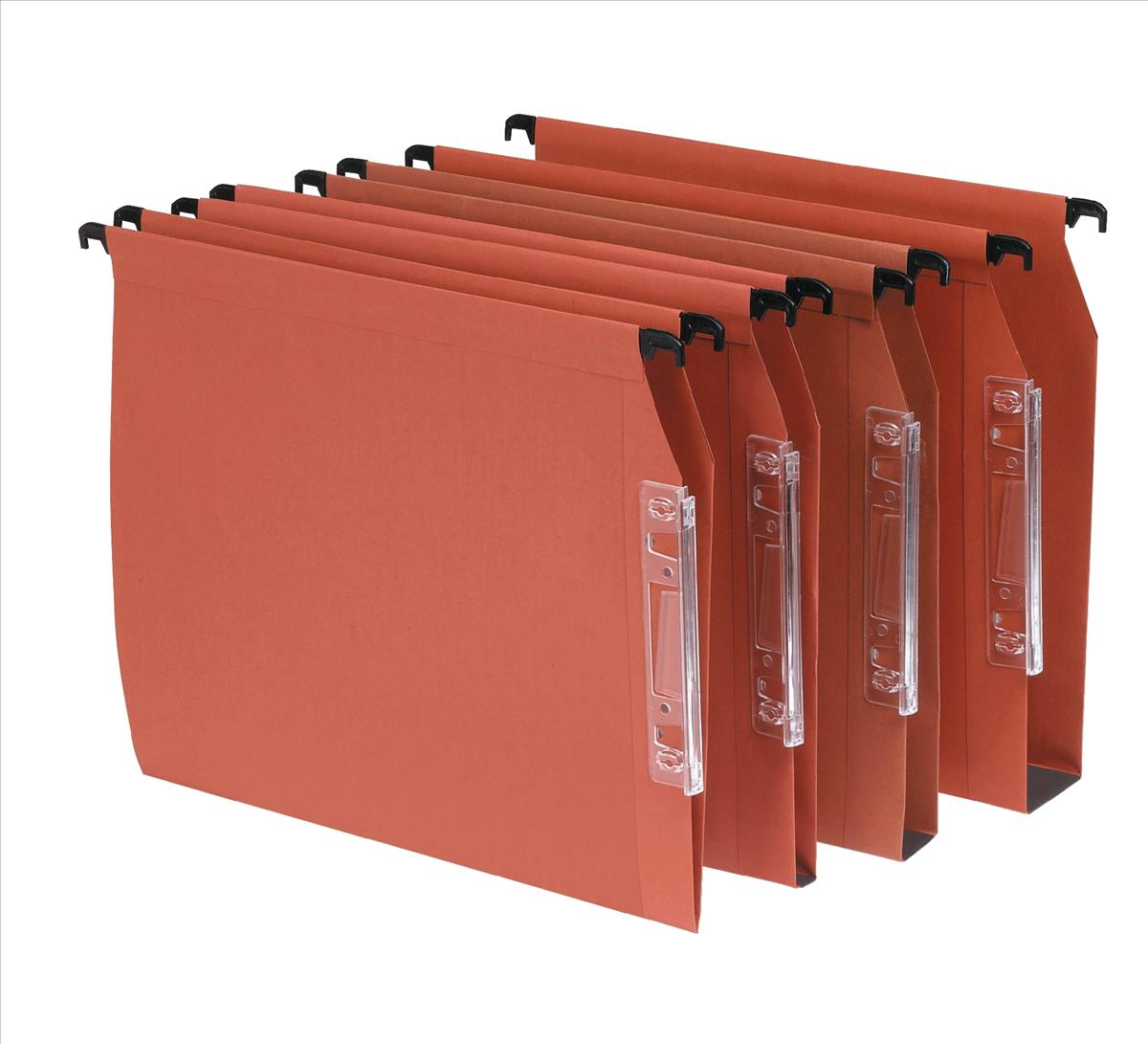 Image for Bantex Linking Lateral File Kraft 220gsm Square-base 50mm Capacity W330mm Orange Ref 100330745 [Pack 25]