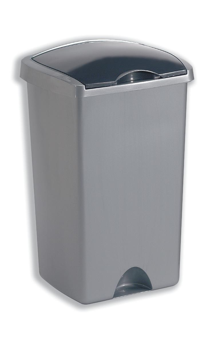Image for Addis Lift Up Lid Bin Plastic 50 Litres Metallic Silver Ref 015381