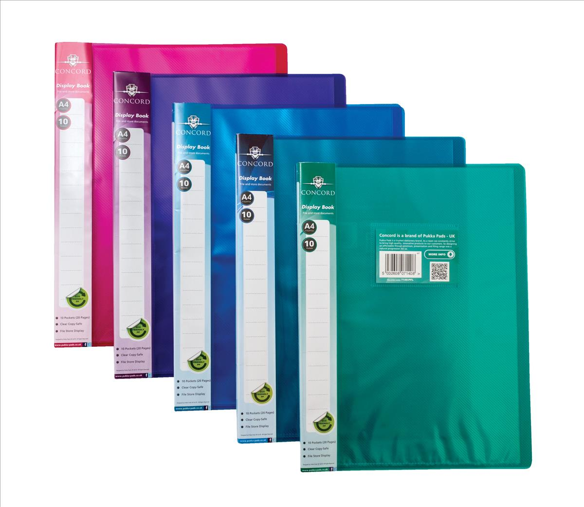 Image for Concord Display Book Flexible Polypropylene 10 Pockets A4 Assorted Ref 7140-PFL [Pack 10]