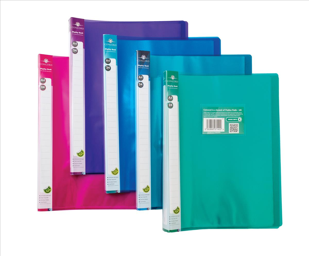 Image for Concord Display Book Flexible Polypropylene 24 Pockets A4 Assorted Ref 7142-PFL [Pack 10]