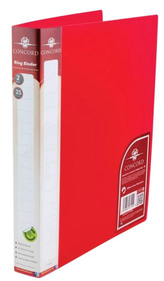 Image for Concord Natural Ring BInder Polypropylene 2 O-Ring 25mm Size A4 Red Ref 7114-PFL [Pack 10]