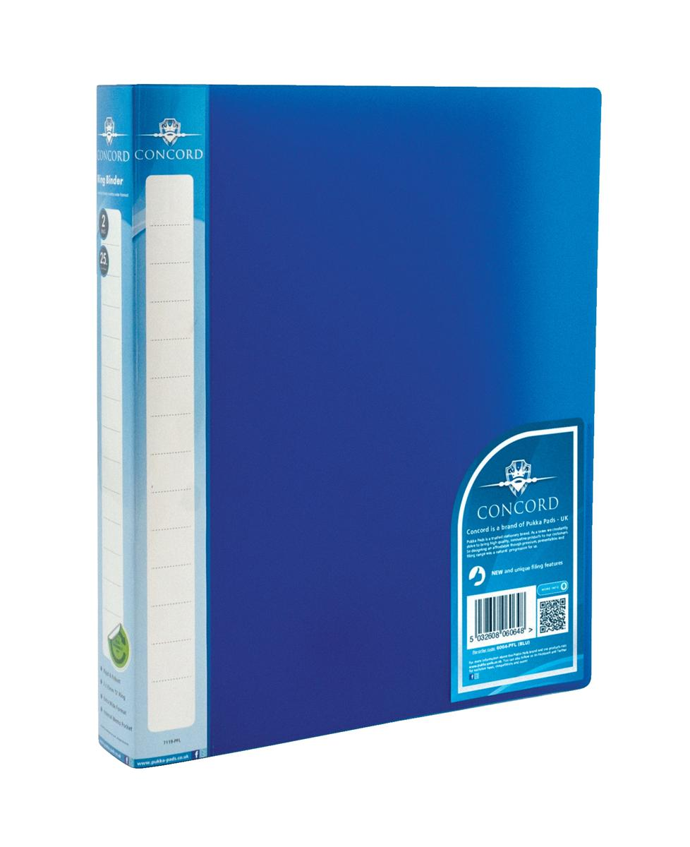 Image for Concord Natural Ring BInder Polypropylene 2 O-Ring 25mm Size A4 Blue Ref 6064-PFL (BLU) [Pack 10]