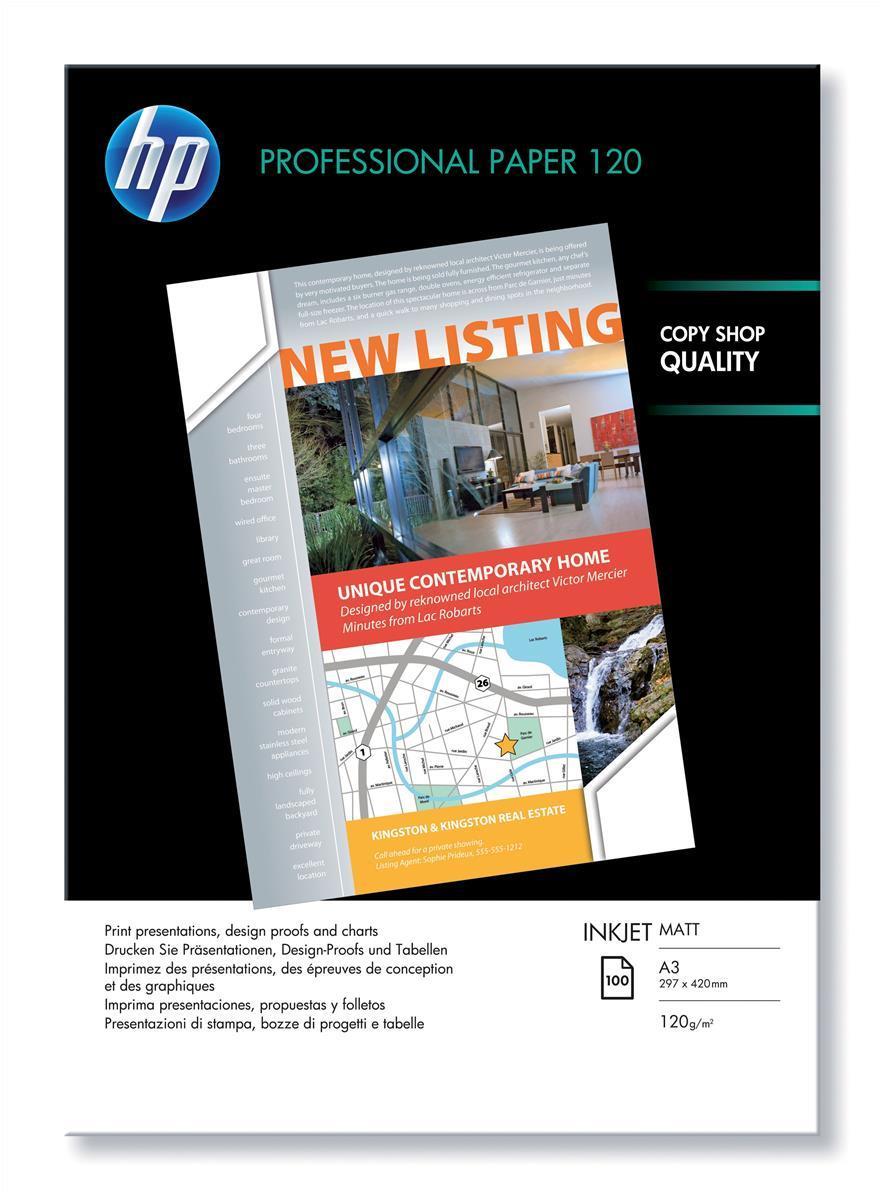 Image for Hewlett Packard [HP] Professional Inkjet Paper Matt 120gsm A3 Ref Q6594A [100 Sheets]