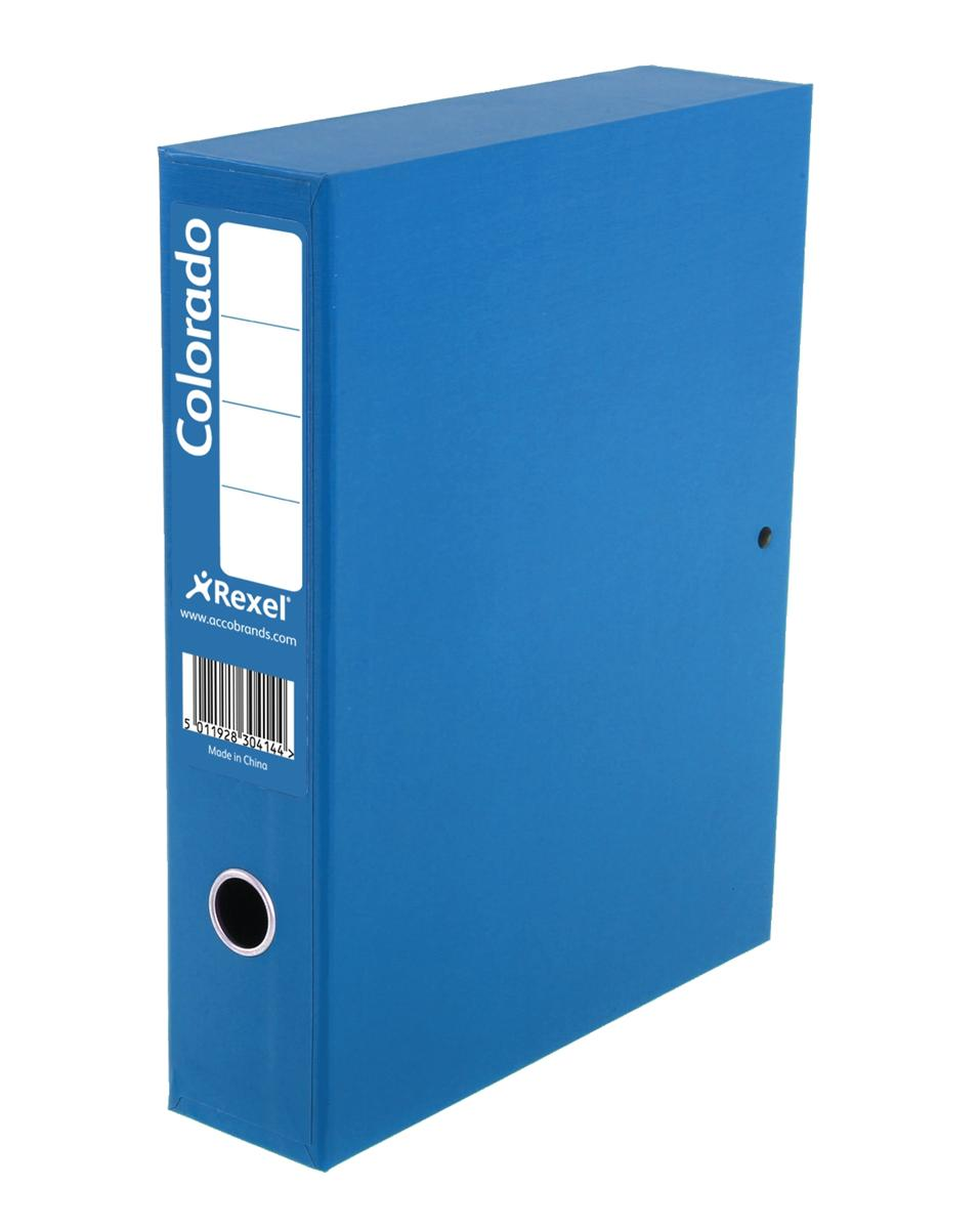 Image for Rexel Colorado Box File with Lock Spring 70mm Spine A4 Blue Ref 30443EAST [Pack 5]