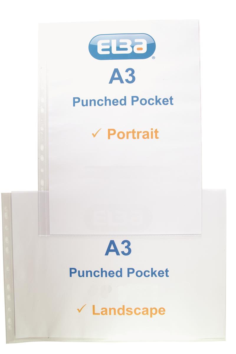 Image for Elba Pocket Polypropylene Multipunched Top-opening A3 Portrait Clear Ref 400005480 [Pack 25]