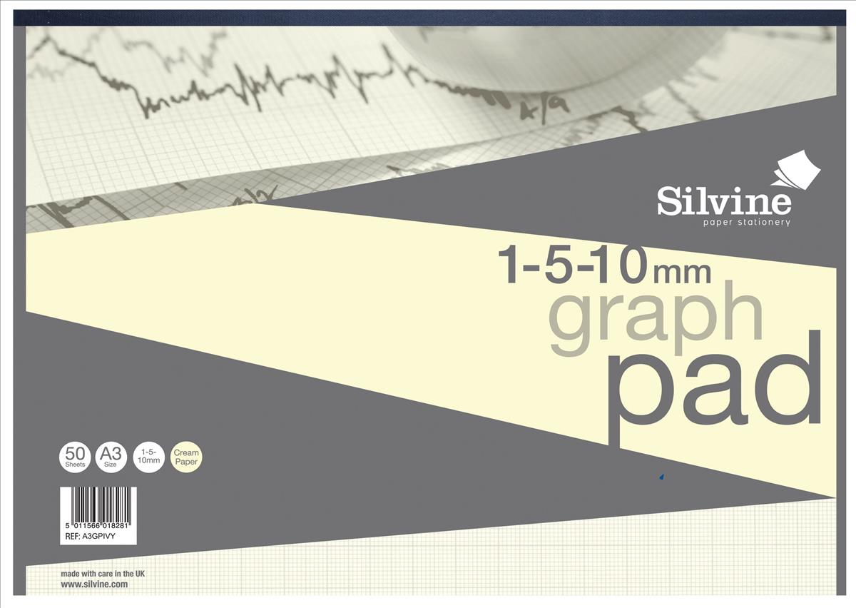 Image for Silvine Designer Graph Pad 85gsm 1mm 5mm 10mm Grid 50 Sheets A3 Cream Wove Ref A3GPIVY