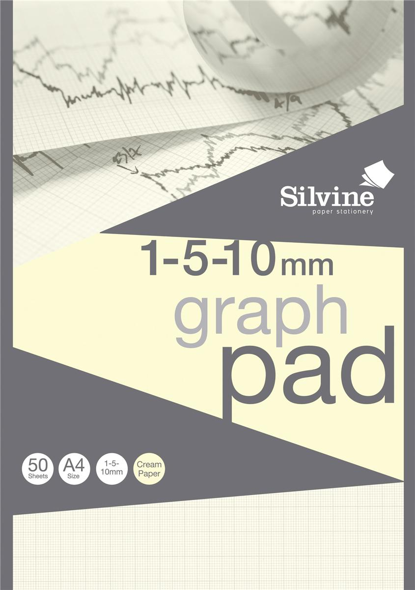 Image for Silvine Designer Graph Pad 85gsm 1mm 5mm 10mm Grid 50 Sheets A4 Cream Wove Ref A4GPIVY