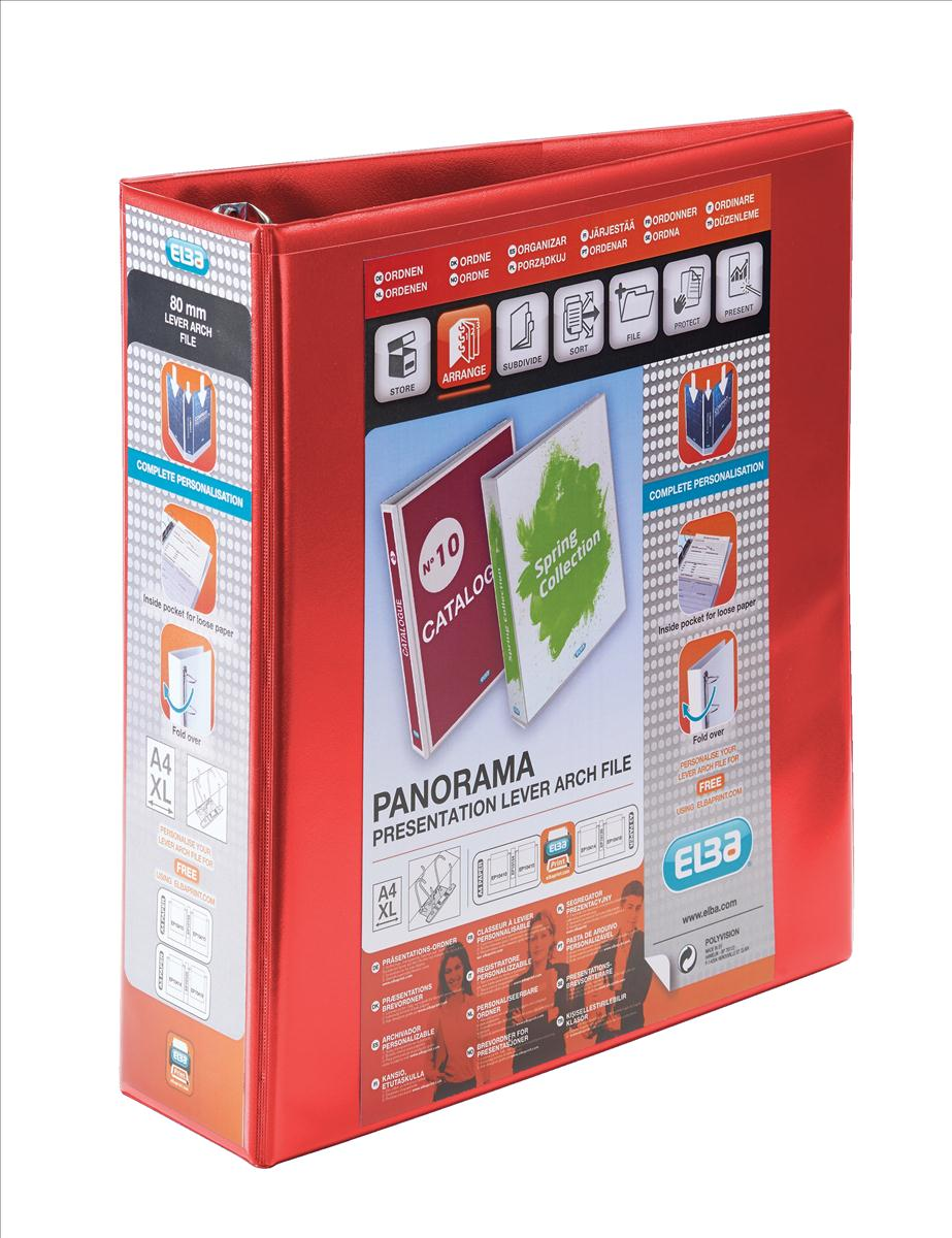 Image for Elba Panorama Leverless Arch Binder PVC 2 Ring Size 40mm Red A4 Ref 400008955 [Pack 5]