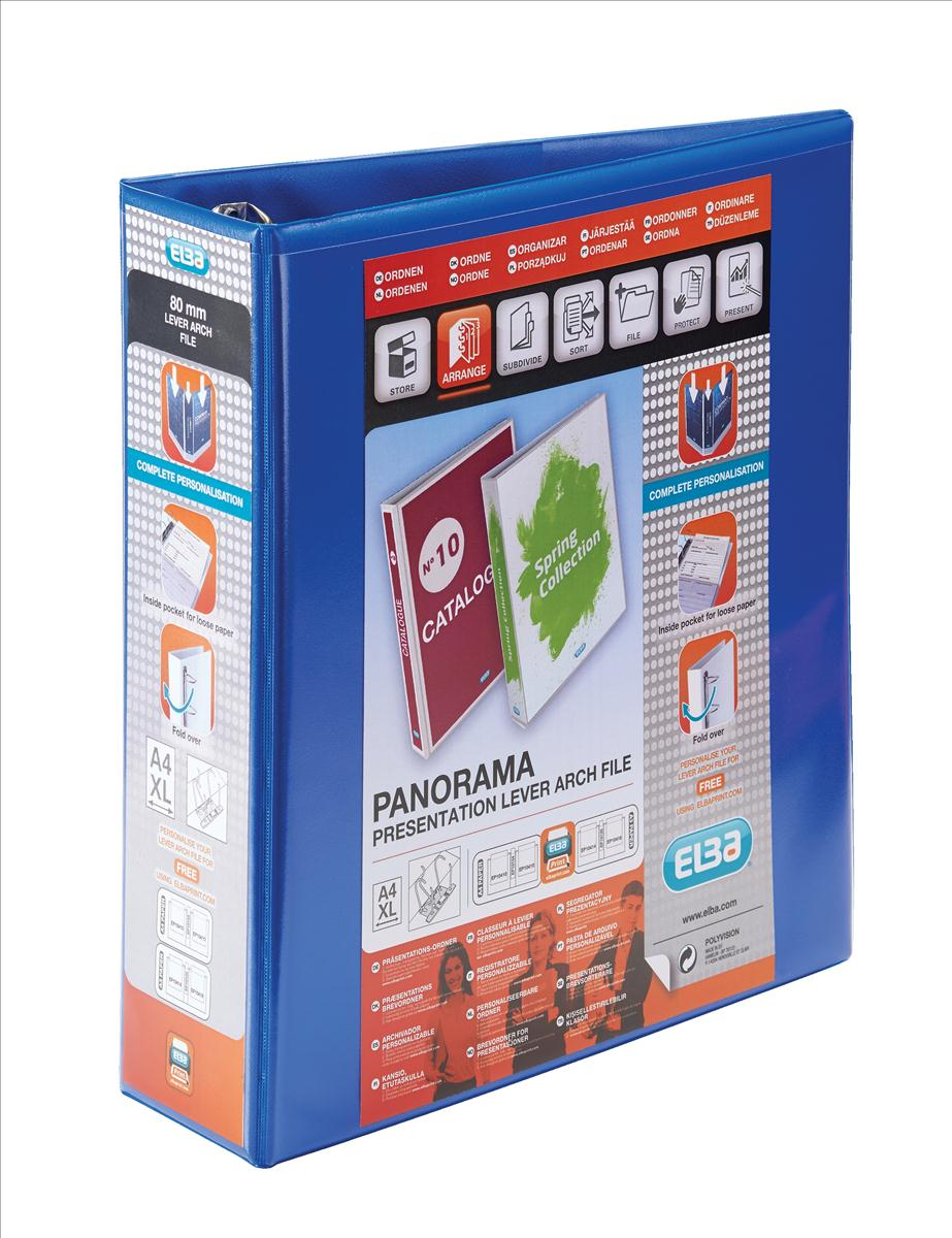 Image for Elba Panorama Leverless Arch Binder PVC 2 Ring Size 40mm Blue A4 Ref 400008954 [Pack 5]